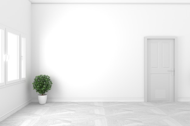 Concepto blanco vacío - habitación hermosa - diseño blanco de la puerta y la ventana, estilo blanco. render 3d