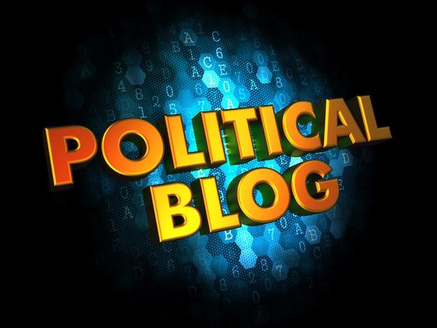 Concepto de blog político - texto en color dorado sobre fondo digital azul oscuro.