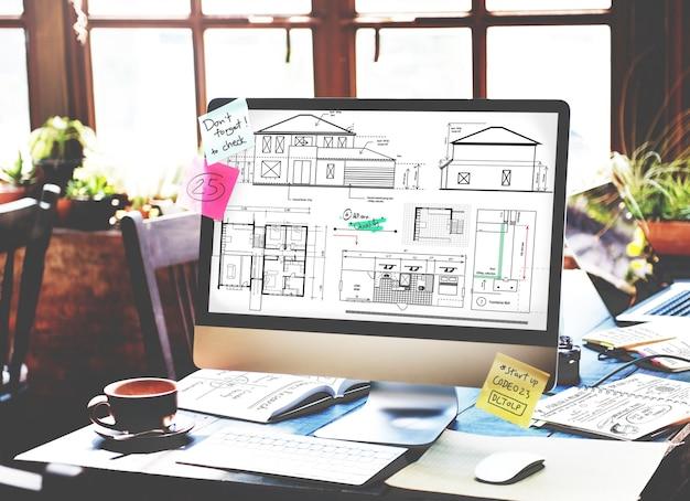 Concepto de boceto de proyecto de construcción de arquitecto de planos