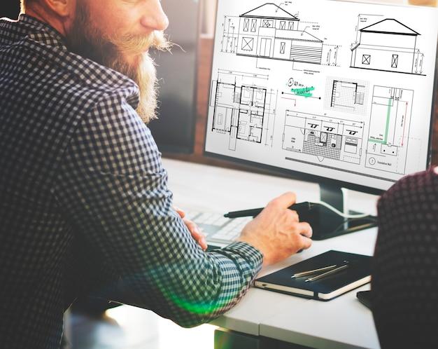Concepto de boceto de proyecto de construcción de arquitecto