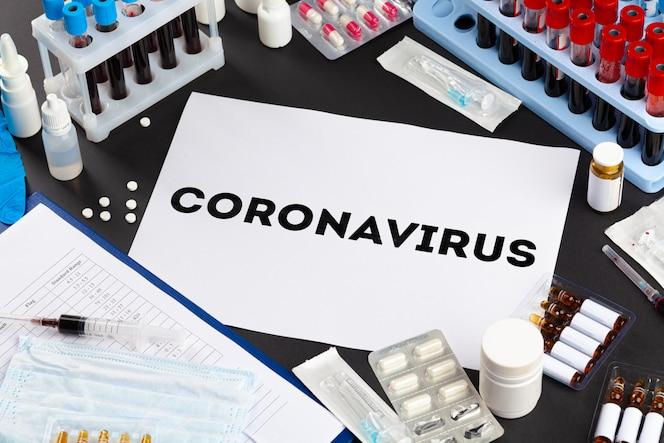 Concepto de brote de coronavirus Diagnóstico de coronavirus, pruebas de laboratorio