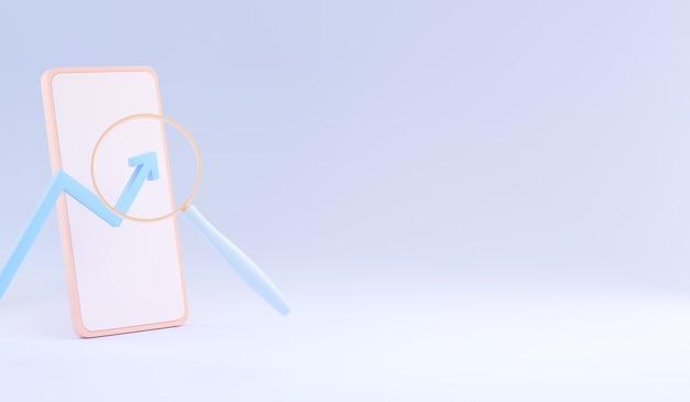 Concepto de búsqueda de smartphone. página principal de background landing. copie el espacio. ilustración 3d.