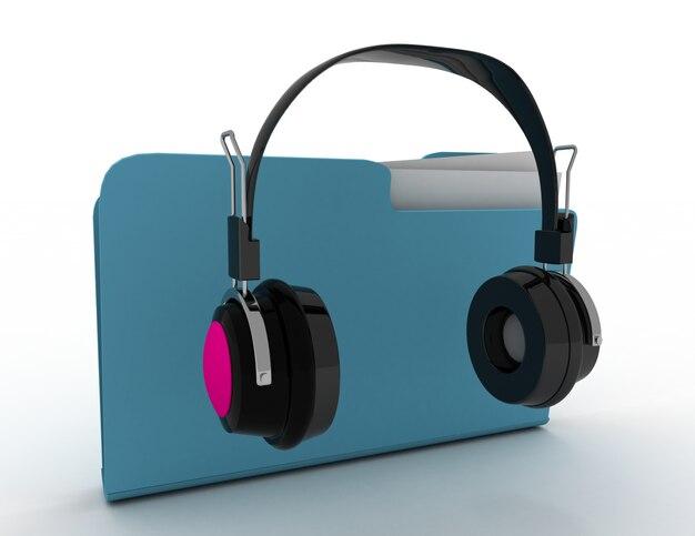 Concepto de carpeta de música. 3d rindió la ilustración