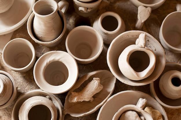 Concepto de cerámica de jarrones de vista superior