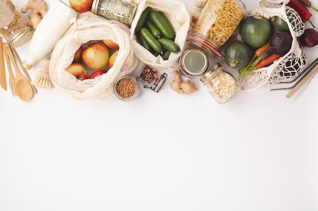 Concepto de cero residuos. compras ecológicas