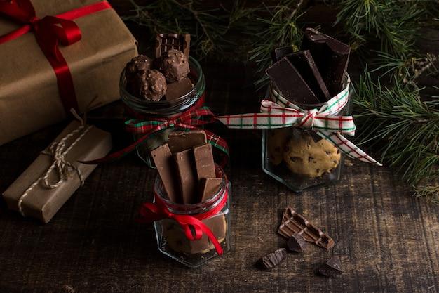 Concepto de chocolate y navidad