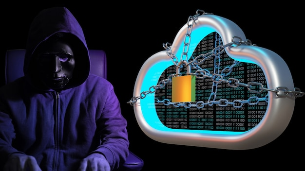 Concepto de ciberataque, virus, malware.