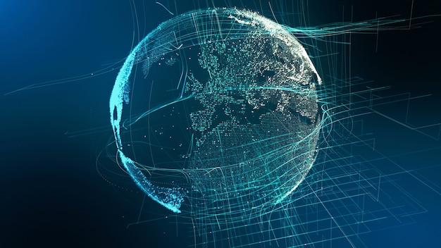 Concepto cibernético del globo digital de la tierra de partículas de movimiento