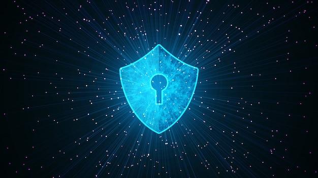 Concepto cibernético grande de la seguridad de la protección de datos con el icono del escudo en espacio cibernético.