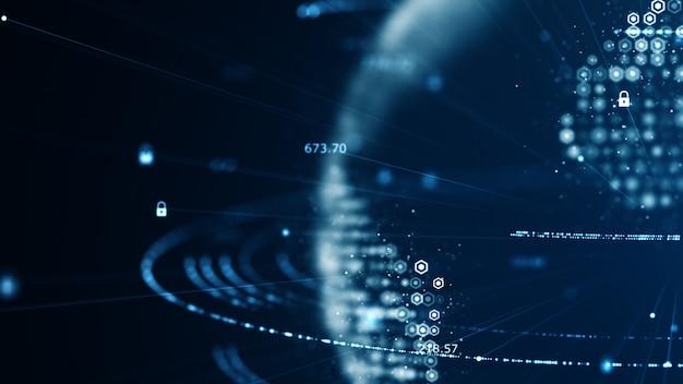 Concepto de ciberseguridad y comunicación global.