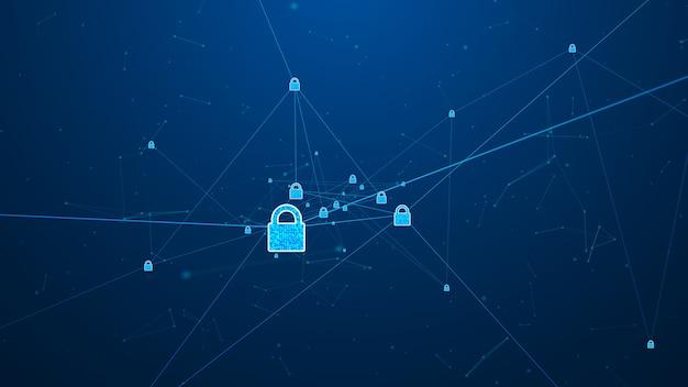 Concepto de ciberseguridad de red de tecnología de internet de proteger ataque de virus informático