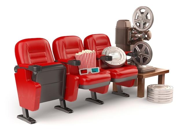 Concepto de cine, película o video casero. asientos con carretes, palomitas de maíz y proyector aislado en blanco. 3d