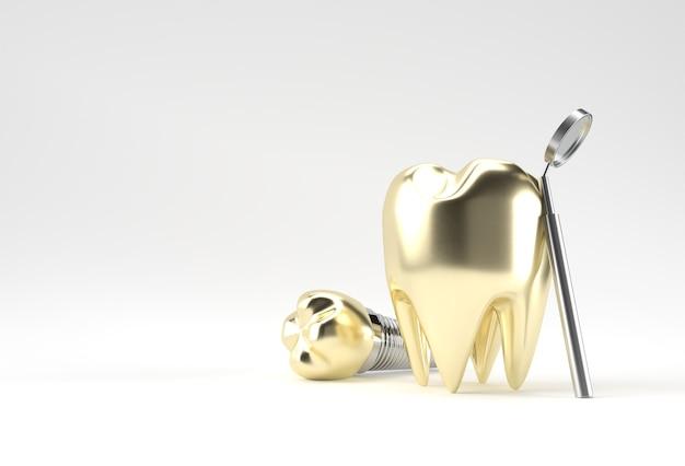Concepto de cirugía de implantes dentales de dientes dorados representación 3d.