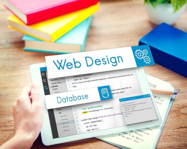 Concepto de codificación de sitio web de diseño web