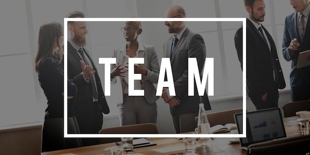 Concepto de colaboración de apoyo de trabajo en equipo en equipo