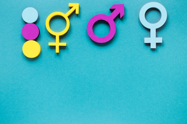 Concepto colorido de símbolos de igualdad de derechos