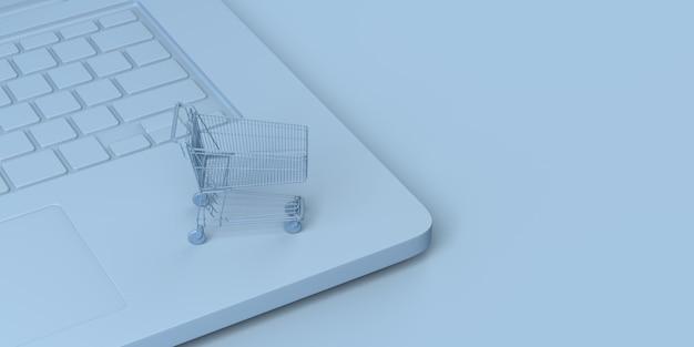 Concepto de comercio digital carrito de compras en una computadora portátil compras en línea ilustración 3d banner