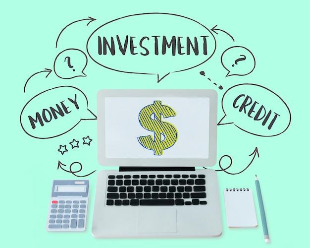 Concepto de comercio de economía de forex de moneda de inversión