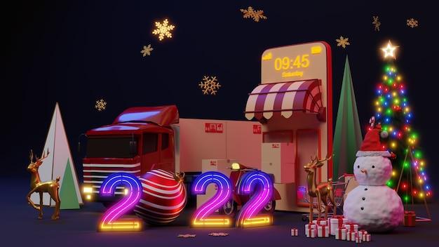 Concepto de comercio electrónico en navidad o año nuevo, compras en línea y servicio de entrega en aplicaciones móviles, renderizado 3d.