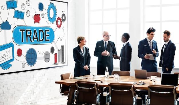 Concepto de comercio de mercancías de intercambio de trato de intercambio comercial