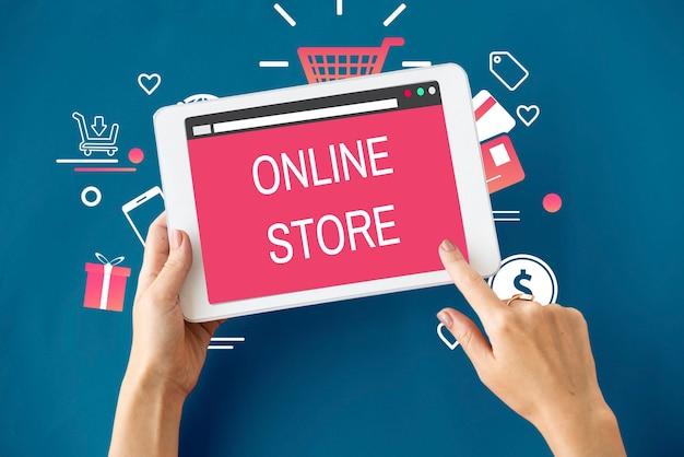 Concepto de comercio de pago de compra en línea