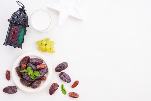 Concepto de comida y bebida de ramadán.