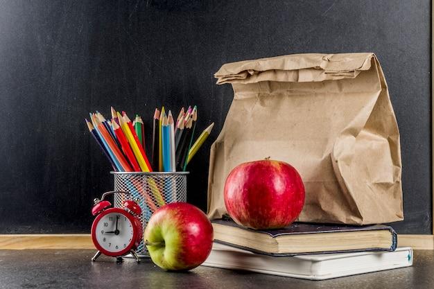 Concepto de comida escolar saludable