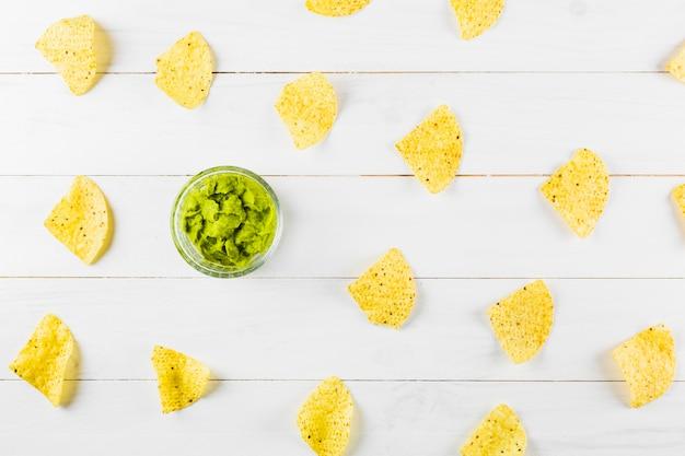 Concepto de comida mejicana con nachos