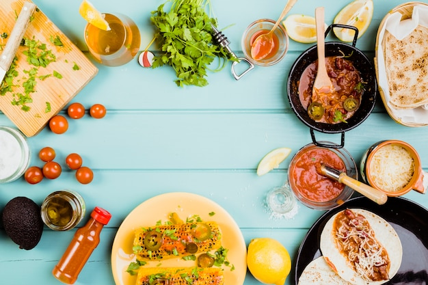 Concepto de comida mexicana con copyspace