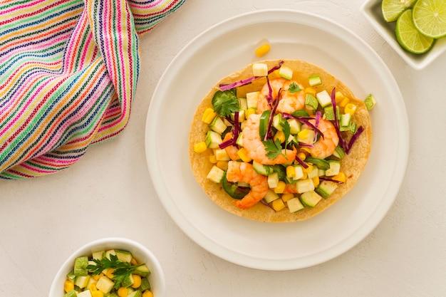 Concepto de comida mexicana plana