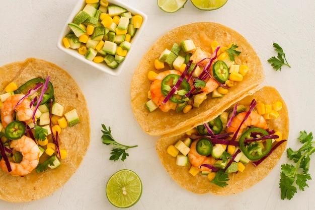 Concepto de comida mexicana de vista superior
