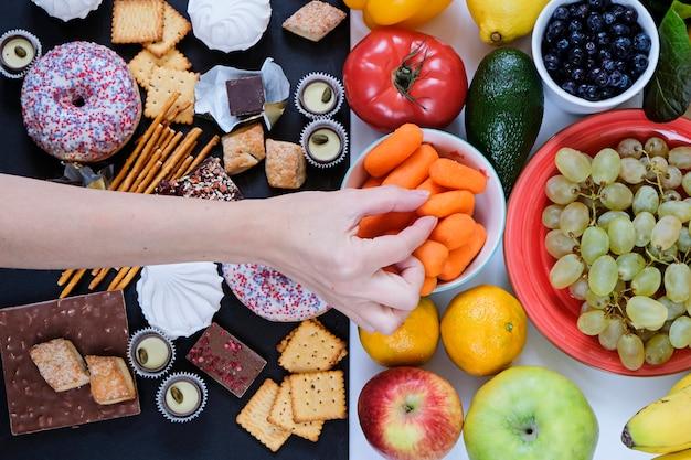 Concepto de comida saludable y no saludable