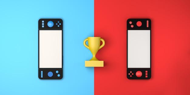 Concepto de competencia de videojuegos con gamepad y premio gaming gamer copy space