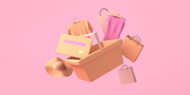 Concepto de compra con cesta, tarjeta de crédito y bolsos. copie el espacio. ilustración 3d.