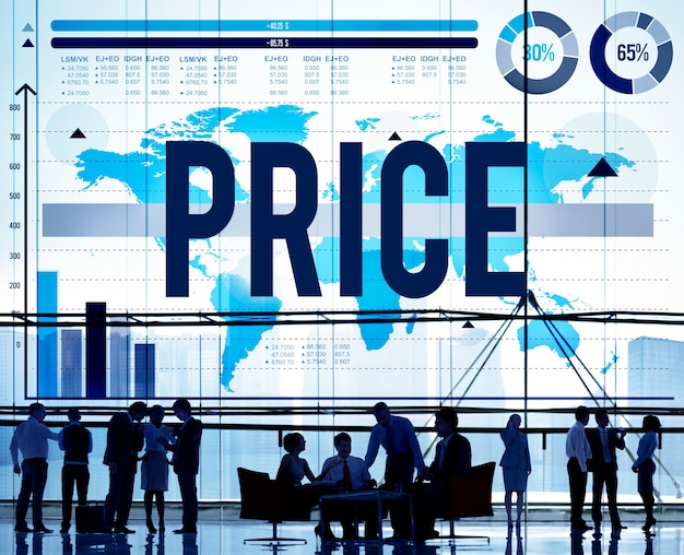 Concepto de compra de producto de precio de materia prima de costo de precio