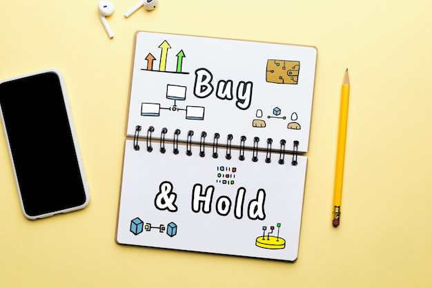 Concepto de compra y retención de negocios criptográficos con iconos abstractos.