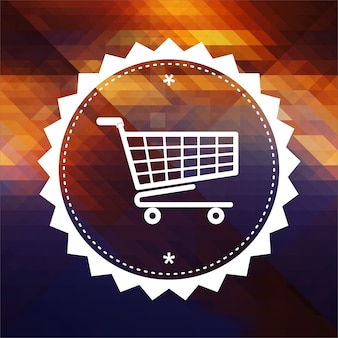 Concepto de compras. diseño de etiqueta retro. fondo inconformista de triángulos, efecto de flujo de color.
