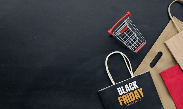 Concepto de compras. fondo de viernes negro. espacio para texto. endecha plana