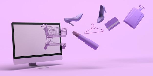 Concepto de compras en línea con computadora, carrito de compras, lápiz labial, tarjeta de crédito, ilustración 3d, espacio de copia