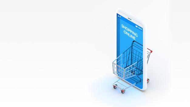 Concepto de compras en línea de representación 3d, carro de compras y vista isométrica del teléfono móvil con espacio de copia.