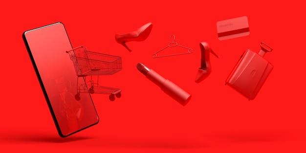 Concepto de compras en línea con smartphon carrito de compras, lápiz labial, zapato, tarjeta de crédito, ilustración 3d