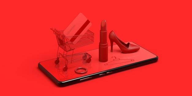 Concepto de compras en línea con teléfono inteligente carrito de compras lápiz labial tarjeta de crédito ilustración 3d
