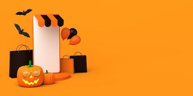 Concepto de compras en línea para la temporada de otoño y la calabaza de halloween ilustración 3d del teléfono inteligente espacio de copia