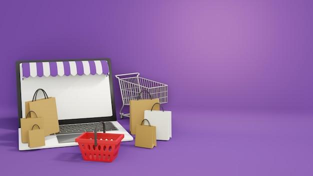 Concepto de compras en línea, tienda en línea de portátiles rodeada de bolsas de compras, carrito de compras y canasta de compras, representación 3d, ilustración 3d