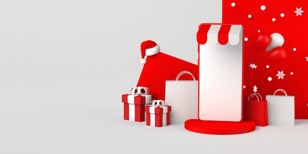 Concepto de compras navideñas online con smartphone. copie el espacio. ilustración 3d.