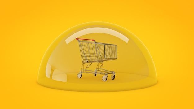 Concepto de compras seguras carrito de compras 3d rendering