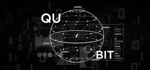 Concepto de computación cuántica con la representación 3d del icono qubit
