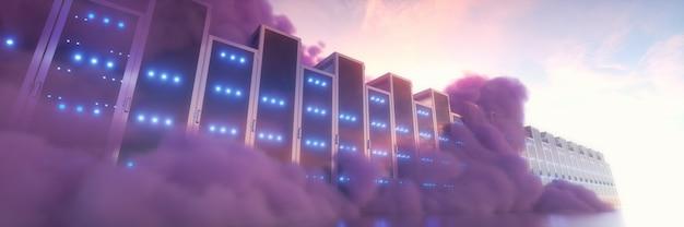 Concepto de computación en la nube. servidores en las nubes