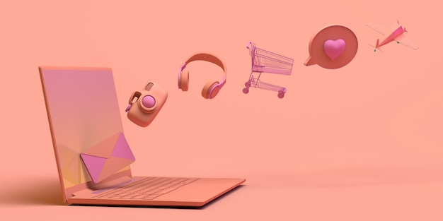 Concepto de computadora portátil con objetos flotantes auriculares, carrito de compras, juegos, correo electrónico, ilustración 3d, espacio de copia
