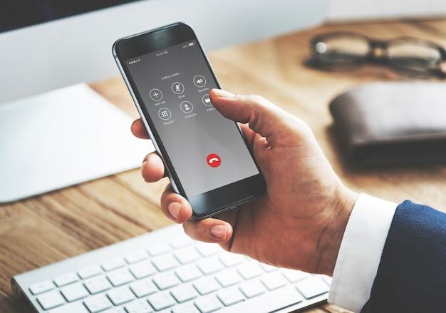 Concepto de comunicación de llamadas salientes